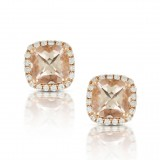 18Kt Rose Gold Earrings With Morganite 1.70Ct And 40 Round Brilliant Diamonds 0.24Ct