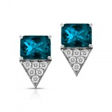 18Kt White Gold Earrings With London Blue Topaz 4.21 And 12 Round Brilliant Diamonds 0.31Ct