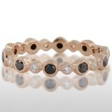 Ladies' Pink Gold Black Diamond Ring