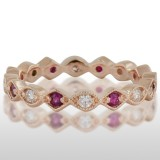 Ladie'S Pink Gold Ruby And Diamond Ring