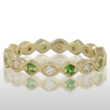 Ladies' Green Gold Tzavorite And Diamond Ring