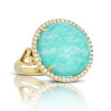 18K Yellow Gold Diamond Ring With Clear Quartz Over Amazonite