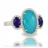 18K White Gold Diamond Ring With White Topaz Over Lapis On The Sides And White Topaz Over Terquoise In Center