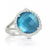 18K White Gold Diamond Ring With London Blue Topaz Over White Mother Of Pearl
