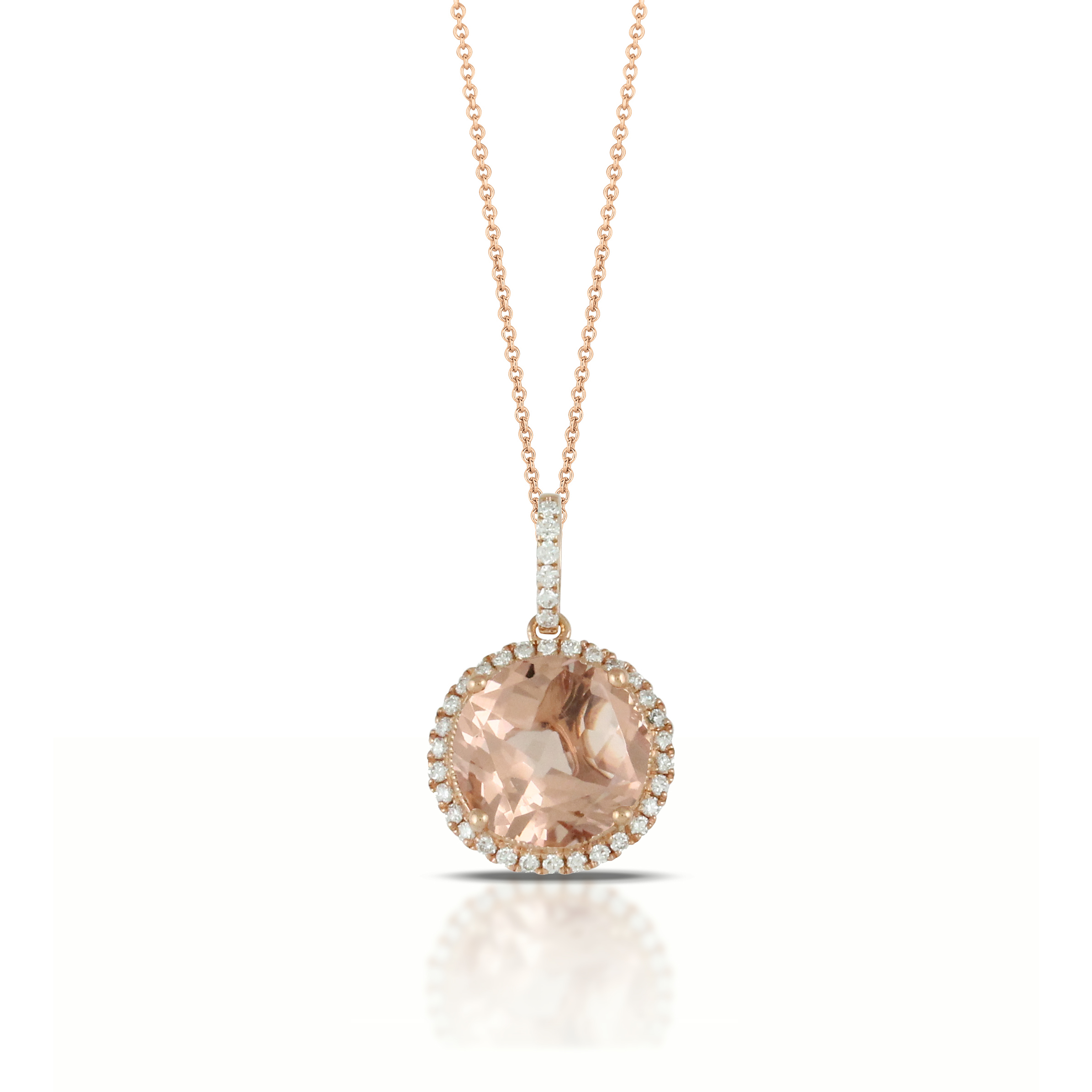 morganite pendant ct drop diamond and in itm pear gold rose natural